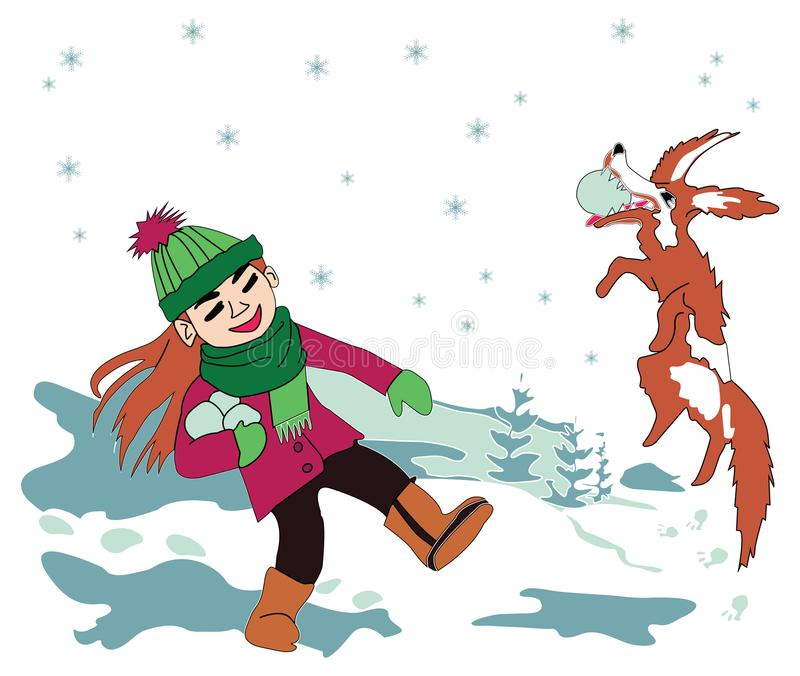 Playing in the snow girl and dog vector illustration