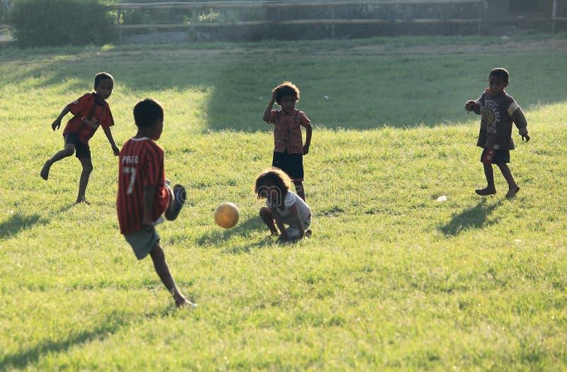 Football Indonesian children stock photo
