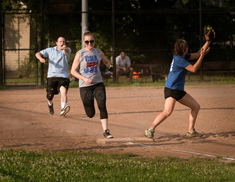 Playing softball stock photo