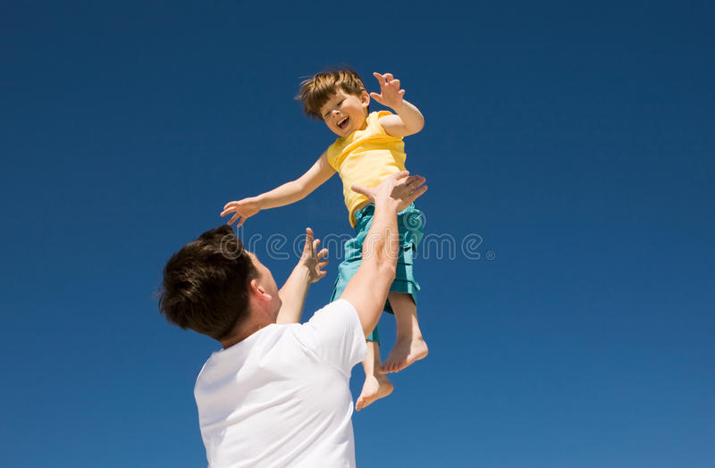 Playing with son stock photos