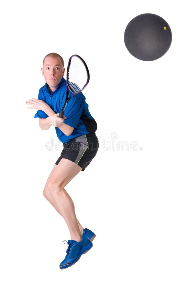 Playing squash. Full isolated picture of a caucasian man playing squash stock photos