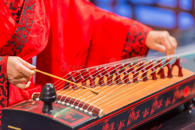 Playing stringed instrument royalty free stock images