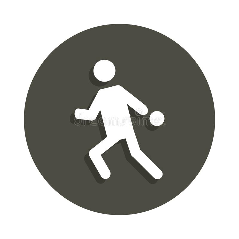 playing table tennis silhouette icon in badge style. One of Pictograms collection icon can be used for UI, UX vector illustration