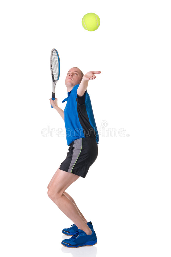 Playing tennis. Full isolated picture of a caucasian man playing tennis royalty free stock photos