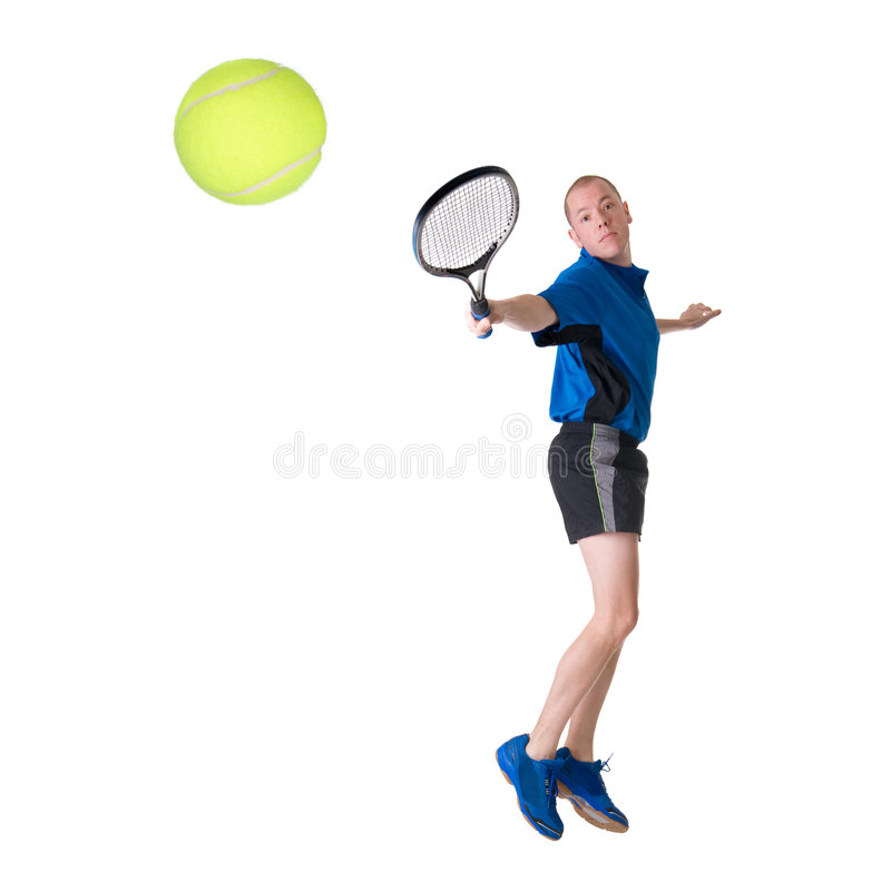 Playing tennis. Full isolated picture of a caucasian man playing tennis royalty free stock photography