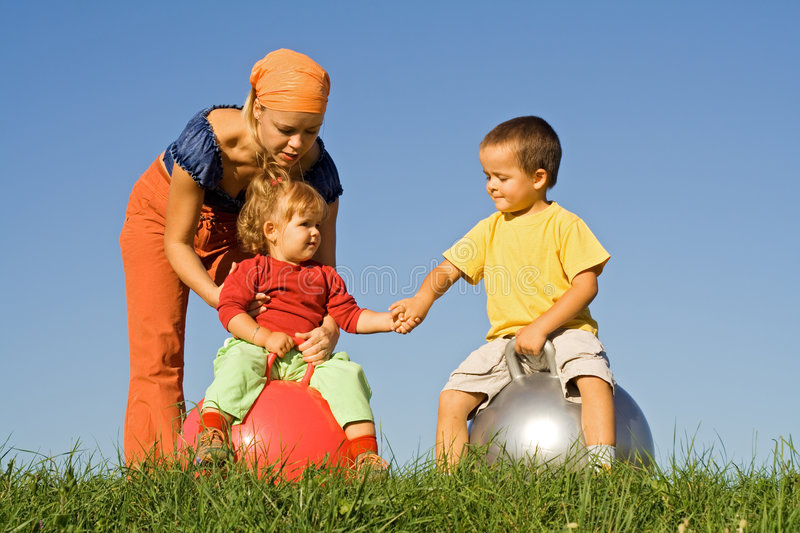 Playing Together Outdoors Royalty Free Stock Photography