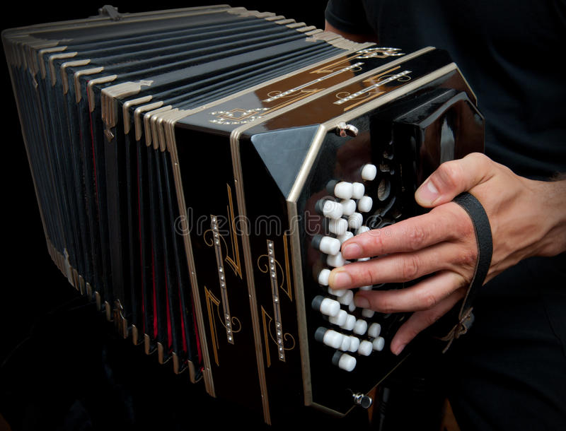 Playing traditional bandoneon. royalty free stock photo