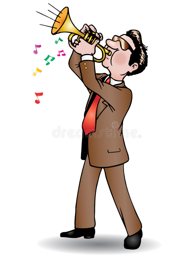 Playing trumpet. Man in suit standing and playing trumpet melody, Isolated white background royalty free illustration