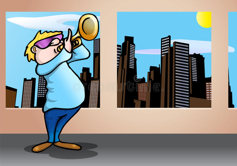 Playing trumpet. Cool man wearing glass playing trumpet melody on city background stock illustration