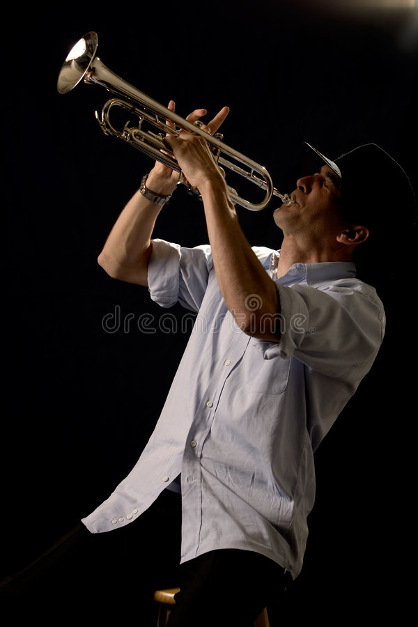 Playing the trumpet royalty free stock images
