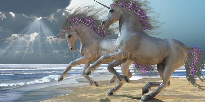Playing Unicorns Part 2. Two beautiful white unicorns frolic on the beach