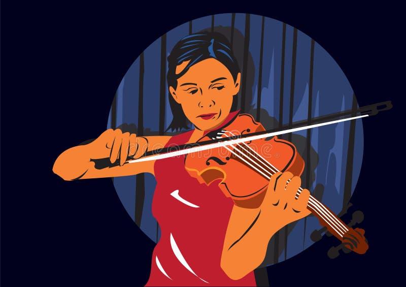 Playing the violin stock illustration
