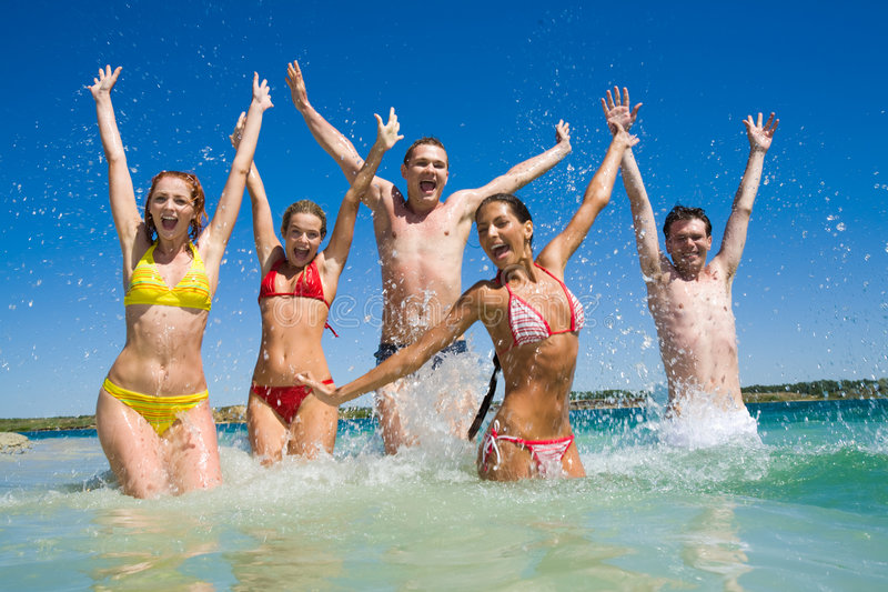 Download Playing in water stock photo. Image of funny, female, male - 9000060