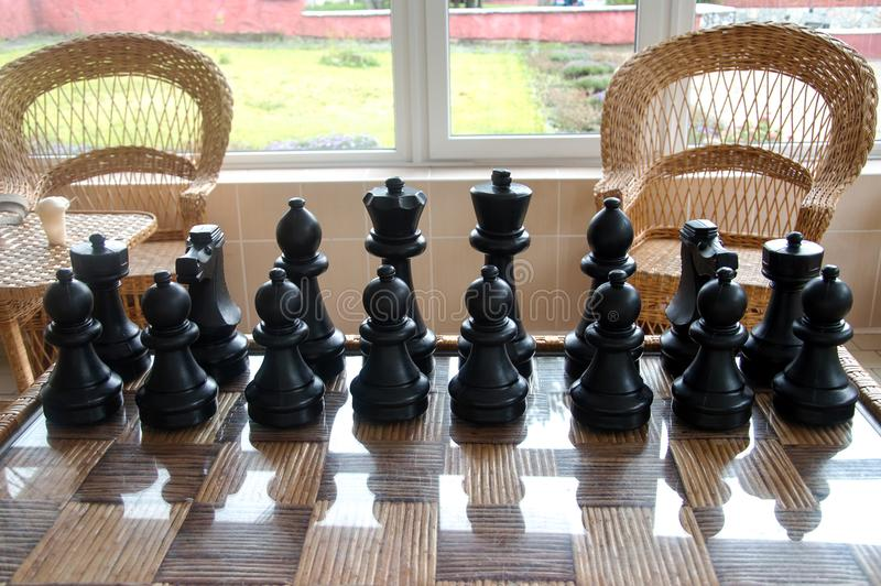 Playing wooden chess pieces. Chess photographed on a chessboard royalty free stock images