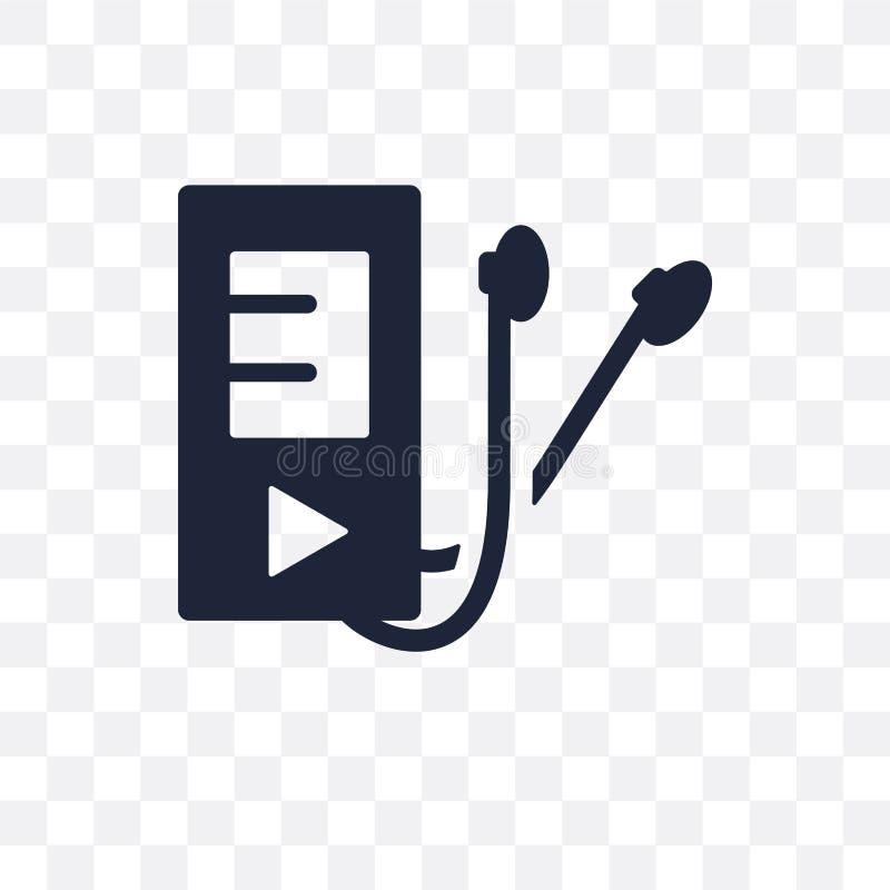 Playlist transparant pictogram Het ontwerp van het Playlistsymbool van Muziekcol. stock illustratie
