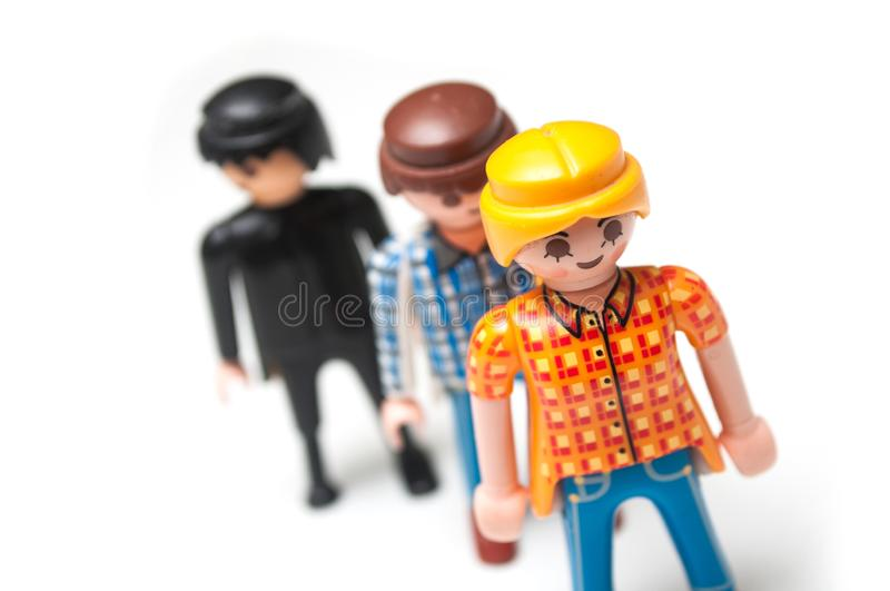 Playmobil figurines on white background stock photography
