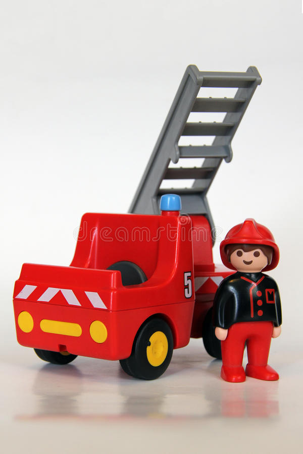 Playmobil - Firefighter with fire engine and stair royalty free stock photos