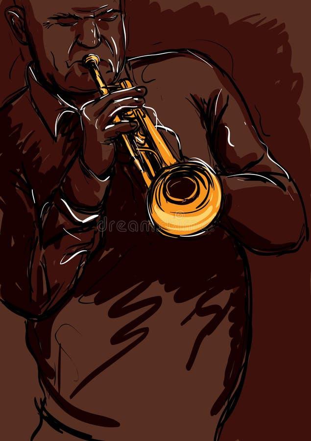 Playng da trombeta ilustração stock