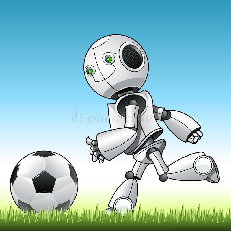 Playng engraçado do robô da criança com bola ilustração do vetor