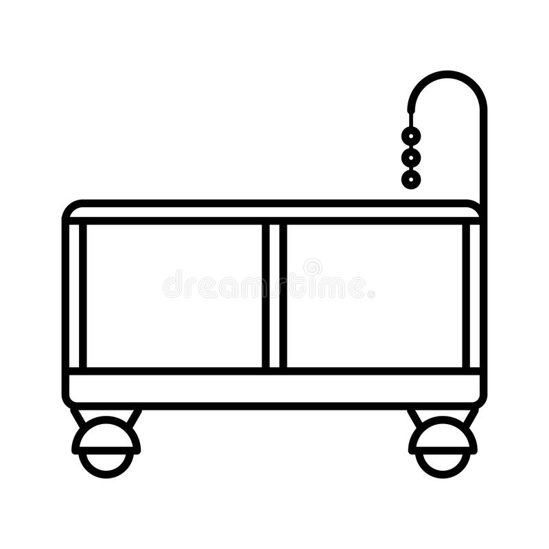 Playpen. Baby icon on a white background, line design. royalty free illustration
