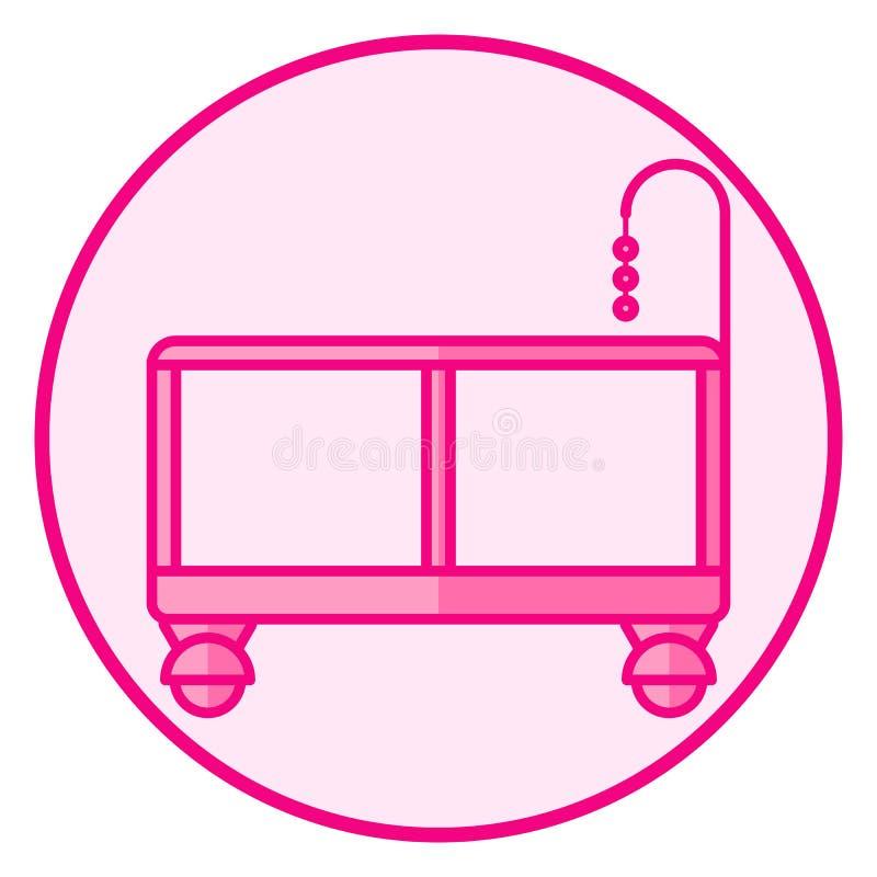 playpen Icono rosado del beb? en un fondo blanco stock de ilustración