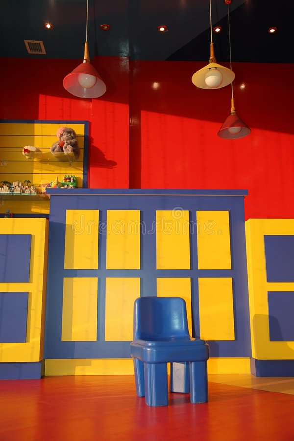 Playroom. Colourful playroom interior with nobody royalty free stock image