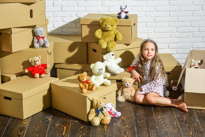 Playroom concept. Moving in. Delivering service. Feeling good at home. Teddy bear collection. Sweet home. Girl child royalty free stock image