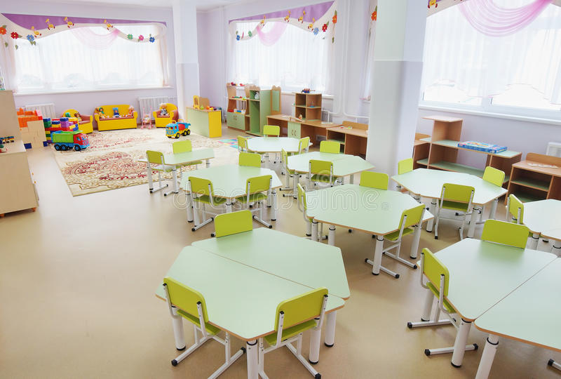 Playroom in a kindergarten. Interior of playroom in a kindergarten royalty free stock photos