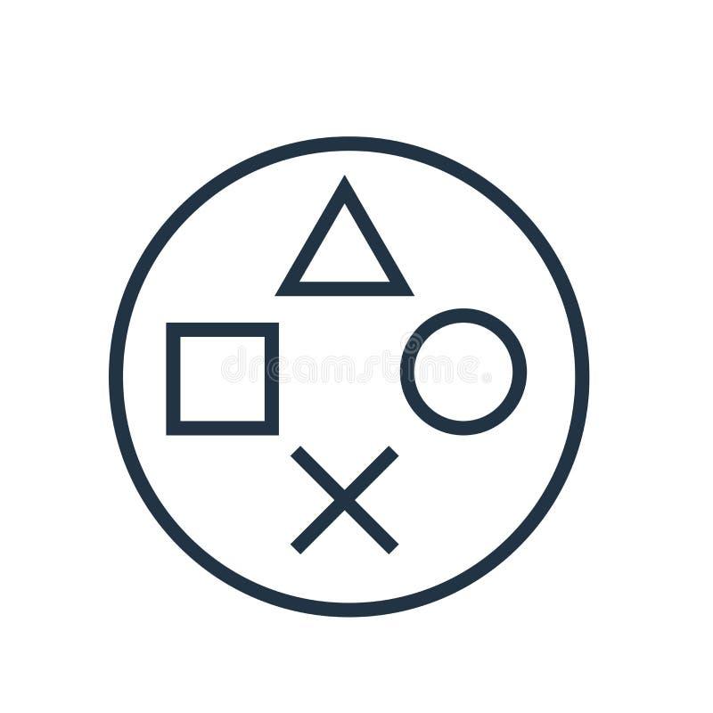Playstation在白色背景隔绝的象传染媒介,Playstation标志 免版税库存照片