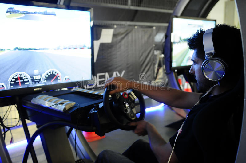 PlayStation - GT Academy, 2014 - Driving Simulator. Modern driving simulator for PS4. In 2014, PlayStation Portugal and GT Academy launched a challenge to find royalty free stock photography