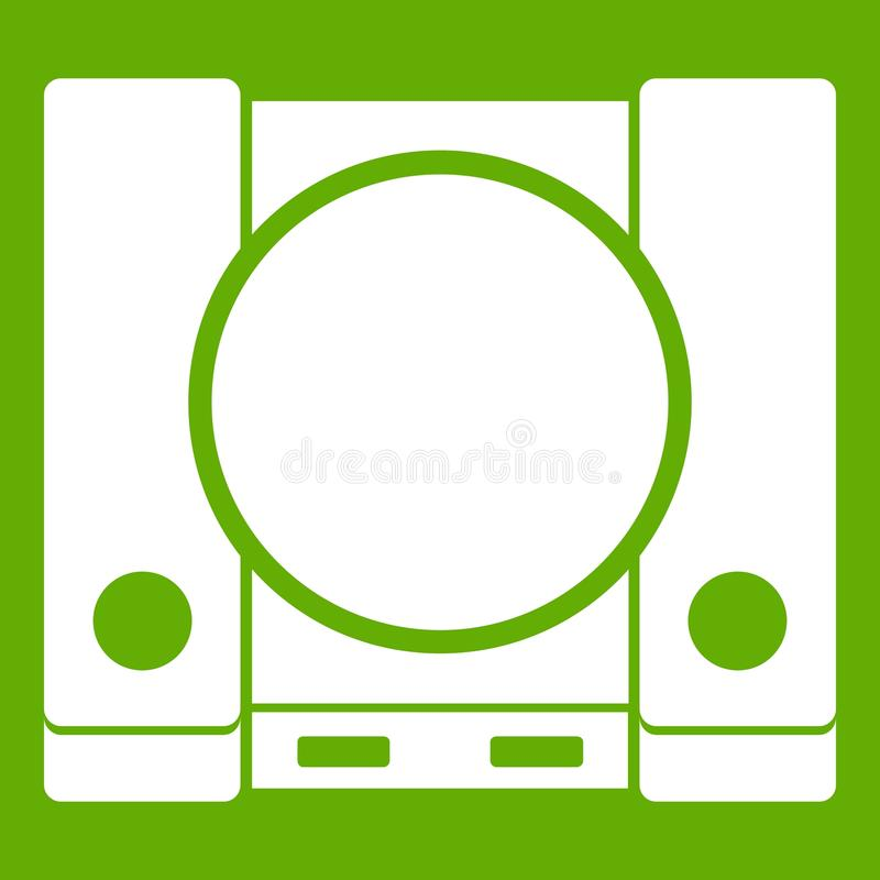PlayStation icon green. PlayStation icon white isolated on green background. Vector illustration stock illustration