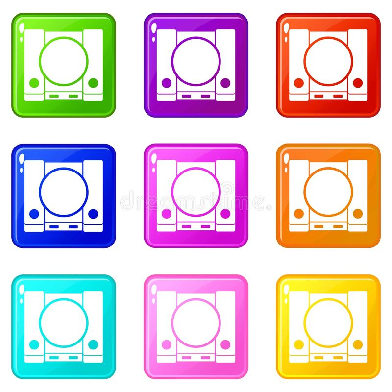 PlayStation icons 9 set. PlayStation icons of 9 color set isolated vector illustration royalty free illustration