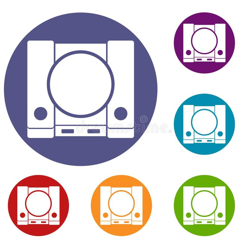 PlayStation icons set. In flat circle reb, blue and green color for web stock illustration