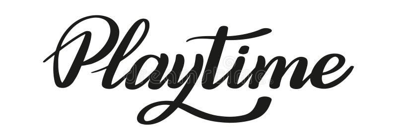 playtime Letras de la pluma del cepillo Vector stock de ilustración