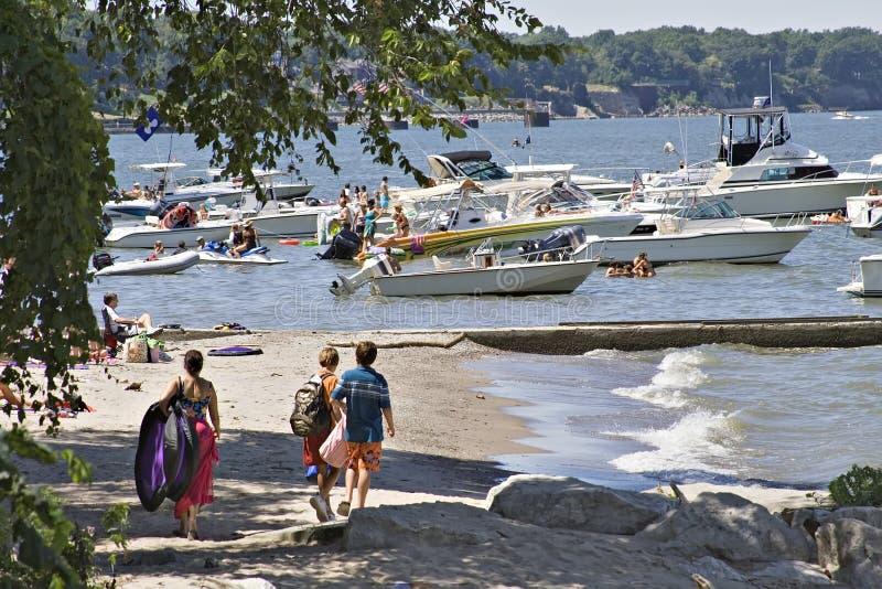 Playtime no lago Eirie fotografia de stock