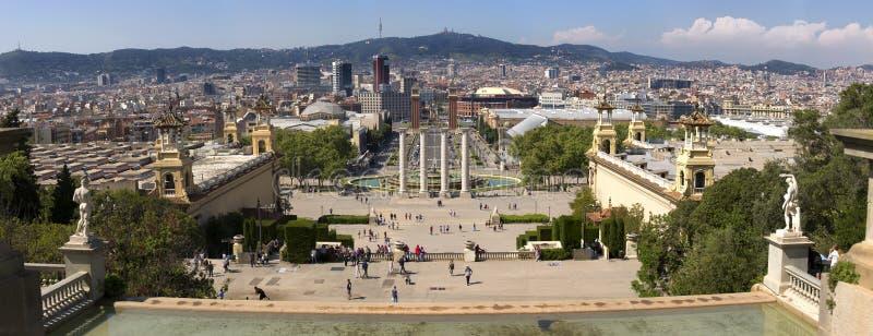 Plaza在Montjuic的de西班牙和威尼斯式塔在巴塞罗那在西班牙 Placa Espanya是一个最重要和最知名的s 库存照片