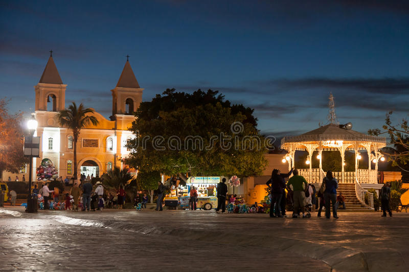 Plaza Antonio Mijares in San Jose del Cabo. SAN JOSE DEL CABO , MEXICO -MARCH 25, 2012 : Night view of Zocalo - Plaza Antonio Mijares in San Jose del Cabo stock images