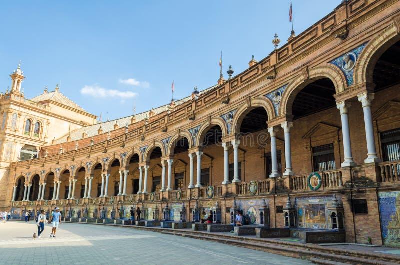Plaza av Spanien, Seville, Andalusia, Spanien royaltyfria bilder