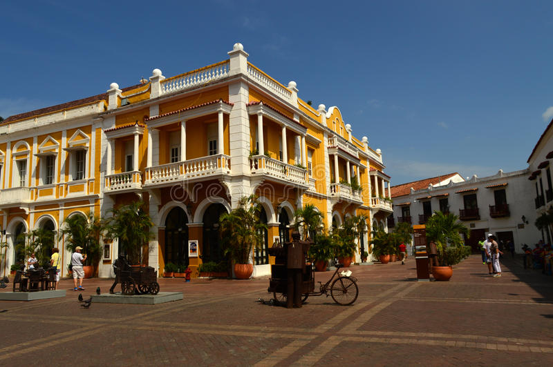Plaza in Cartagena, Colombia stock photos