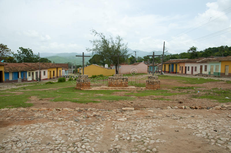 Plaza colorée de pavé - Trinidad - Cuba images libres de droits
