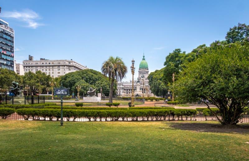 Plaza Congreso e congresso nacional - Buenos Aires, Argentina fotografia de stock