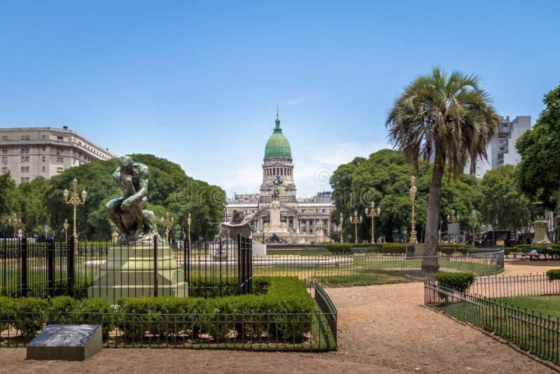 Plaza Congreso e congresso nacional - Buenos Aires, Argentina imagem de stock royalty free