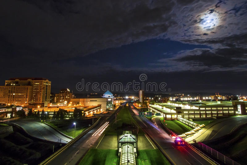 Plaza d'Albany la nuit photographie stock libre de droits