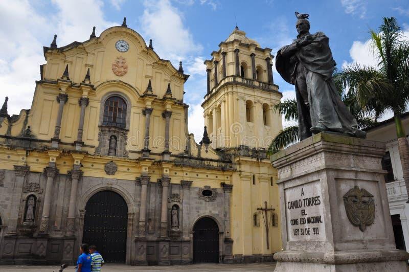 Plaza da igreja de San Francisco em Popayan, Colômbia fotos de stock