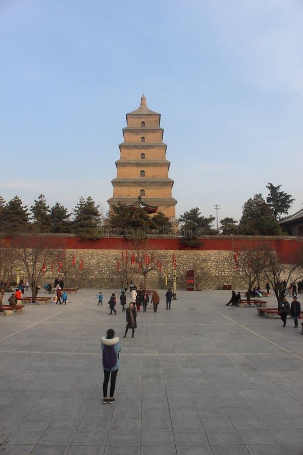 Plaza dal lato di grande pagoda dell'oca selvatica di Xi'an immagini stock