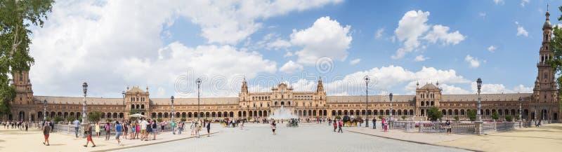 Plaza de全景的西班牙,塞维利亚,西班牙,西班牙广场,塞维利亚 免版税库存照片
