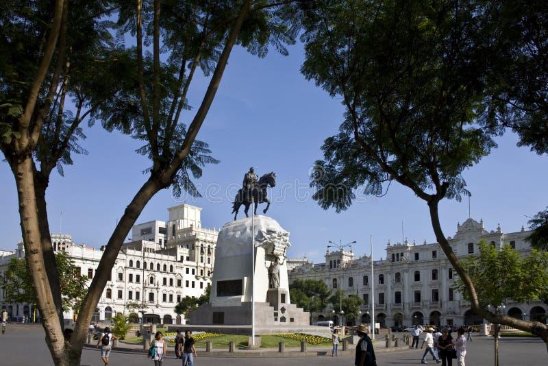 plaza de圣・马丁-利马-秘鲁 库存图片