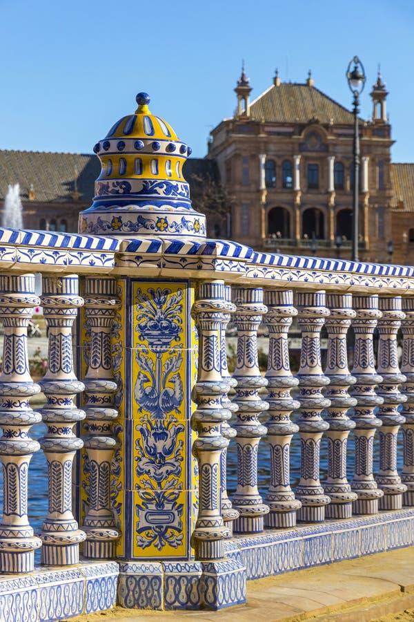 Plaza de西班牙西班牙广场在塞维利亚,安大路西亚,西班牙 免版税库存图片