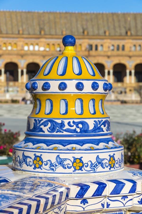 Plaza de西班牙西班牙广场在塞维利亚,安大路西亚,西班牙 库存照片
