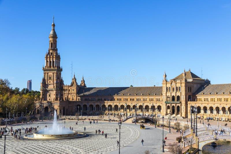 Plaza de西班牙西班牙广场在塞维利亚,安大路西亚,西班牙 免版税图库摄影